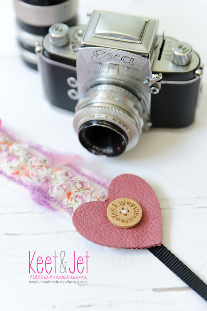 Camera strap lace flower leather heart