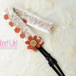 Camera strap leather flower
