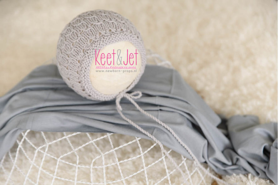 Newborn bonnet Tobi light grey